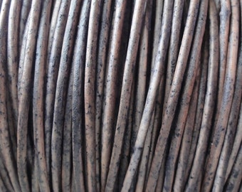 10 Yards 1.5mm Grey Distressed Leather Cord Round Natural Dye