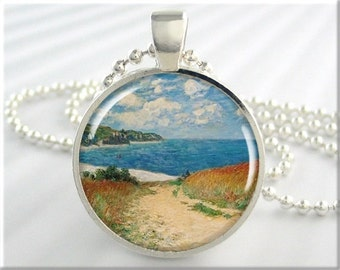 Monet Seashore Necklace Pendant Charm Monet Pourville Picture Art Jewelry (676RS)