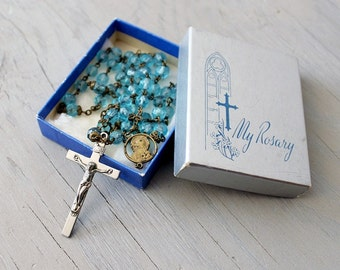 Vintage Blue Glass Faceted Rosary Beads - Sacred Heart of Jesus Rosary Prayer Beads - Full Five Decade Rosary