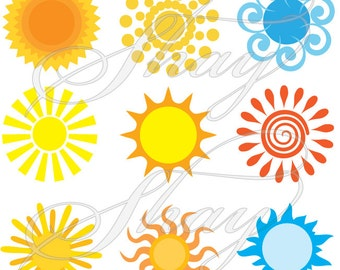 Variety of Summer Suns  -  SVG cut file for Silhouette and other cutting machines