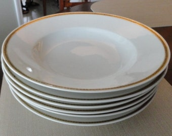 A471)  German Fraureuth Black Laurel with Gold Edge China Soup Bowls 30427