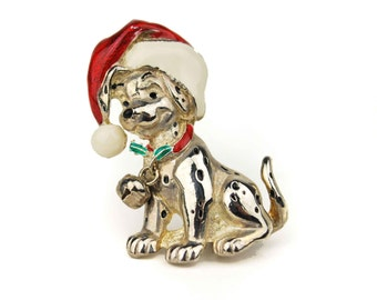 Vintage Signed Disney 101 Dalmatians Christmas Brooch with Jingle Bells, Santa Hat, & Holly // Figural Canine Dog Puppy Holiday Pin
