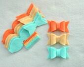 9 Piece Die Cut Felt DIY Chunky Bows, Orange/Mint