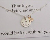 Anchor necklace- STERLING SILVER heart charm thank you for being my anchor gift message love for the ocean necklace beach wedding gold heart