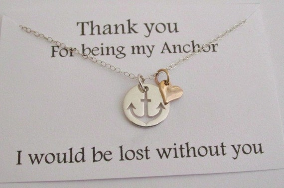 Thank You For The Wedding Gift In Italian : - STERLING SILVER heart charm thank you for being my anchor gift ...