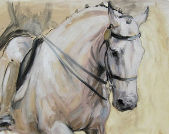 Beautiful Equine horse art dressage movement based print 'Poise' from an original oil sketch individually signed