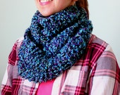 ready to ship~Womens Knit Infinity/ Cowl Scarf, textured purple, turquoise, light green, black soft vegan acrylic yarn