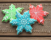 Snowflake Favors / Winter Wonderland Party / Winter Birthday Party Favors / Cookies / Snowflake Party / Snowflake Sugar Cookies - 12 cookies