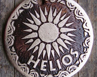 Etched Brass Pet Tag - Sun Dog Tag - Sunshine - Helios Design, 1.25 inch or 1.5 inch