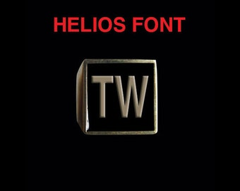 Solid Bronze TW Helios font w/ customizable enamel any color Bespoke Letter / Initial Ring - Any Size - Free Re-Size/Free Shipping Worldwide