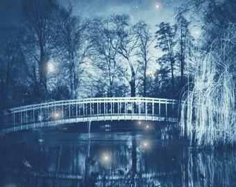 Teal Blue Fairytale Photography, Fairy Lights, Fireflies, Nature Home Decor, River, Bridge, Trees, Dreamy Wall Art, Fantasy, Baby Nursery
