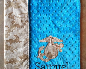 "The Original Create Your Own Monogrammed USMC Baby Lovey with Camo EGA. 17""  Minky Security Blanket."
