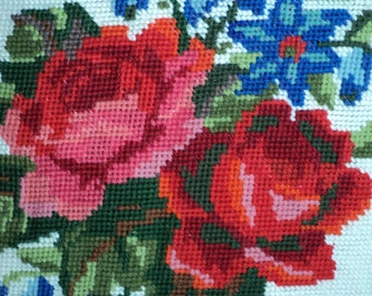 Vintage Needlepoint Sampler of A Still Life portrayal of  Red Roses and Blue Forget-me-Nots for reuse and recycling in Very Good Condition