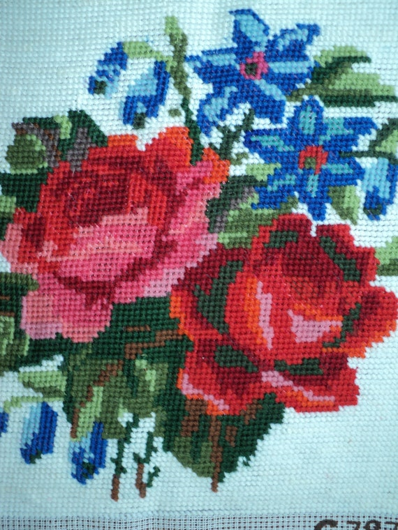 Vintage FLORAL NEEDLEPOINT SAMPLER,  Still Life of  Red Roses and Blue Forget-me-Nots for reuse and recycling in Very Good Condition