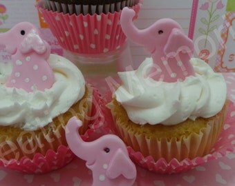 EDIBLE ELEPAHNTS - fondant elephant cupcake toppers - with or with polka dots. You can chose your color