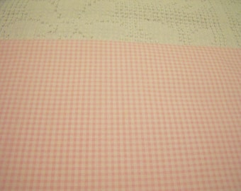 """Beautiful 100% Cotton Pink and White checkered Fabric 36"""" long x 44"""" wide"""