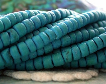 Coconut Shell Beads, Coco Beads, Coco Shell Beads, Natural Beads, Recycled Beads, Turquoise Beads NAT-206