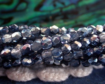2mm Fire Polished Beads, Czech Glass Fire Polished Beads, Czech Glass Beads, Faceted Glass Beads, Mirror Denim Beads  CZ-484