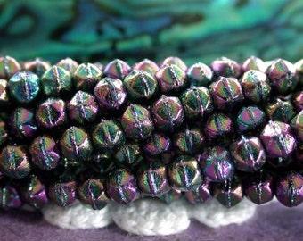 3mm English Cut Beads, 100 Pieces, Czech Glass Beads, Pressed Glass Beads, English Cuts, Rough Cuts, Purple Iris Beads CZ-493