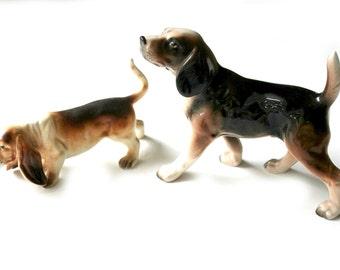vintage midcentury dog figurines, beagle fox hound and dachshund