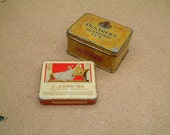 Vintage antique rectangular tea and cigarettes tin boxes, 1920s tin box