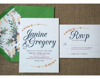 Vintage Boho Style Wedding - Boho Simple Invitation  - Earth Tone Colors - Garden Barn Wedding Invite - Simple and Romantic Calligraphy Font