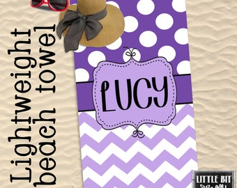 Personalized Beach Towel Chevron Monogrammed Towel 30x60 Polka dots Purple Poly/Cotton