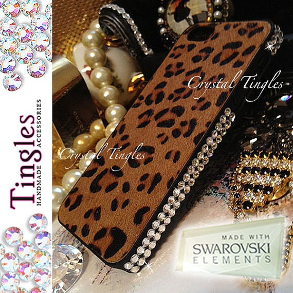 Luxury Furry Skin Tiger Pattern Real Horse Hair For iPhone 5 5S Case with White Diamond Crystal Bumper Made with SWAROVSKI Elements