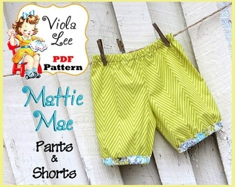 Mattie Mae... Girl's Pants - Shorts Pattern, Toddler Shorts Pattern. PDF Pants Sewing Pattern. Toddler Pants Pattern. Infant Shorts Pattern.