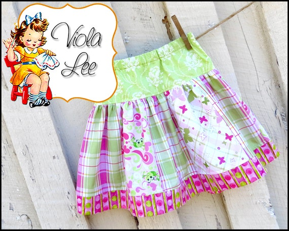 Sara.......Girl's Skirt Pattern, Strip Skirt Pattern, Toddler Skirt Pattern. Toddler Pattern. Girl's Sewing Patterns. Size 6mo to girl's 10