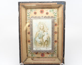 1800's French Religous Icon Shadow Box,  Antique Saint Joseph and Baby Jesus Shrine