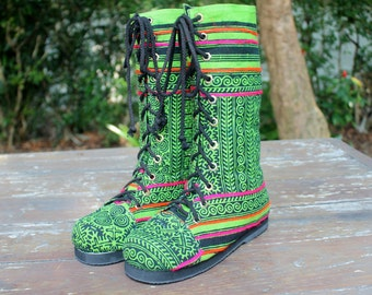 Womens Boots Ethnic Hmong Green Batik Mid Calf Lace Up - Britta Combat Boots