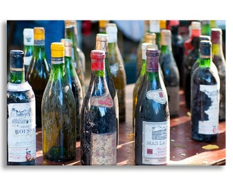 Paris Photography on Canvas - Vintage Wine Bottles at Flea Market, Gallery Wrapped Canvas, Kitchen Decor, Food Photography, Large Wall Art