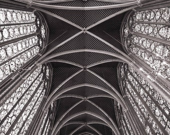Paris Photography - Saint-Chapelle Vaulted Ceiling, Fine Art Travel Photograph, Black and White, Large Wall Art, French Home Decor