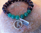 Yogi inspired wood bead bracelet with love and tree pose charms, green jade gemstone perfect gift for yoga lover