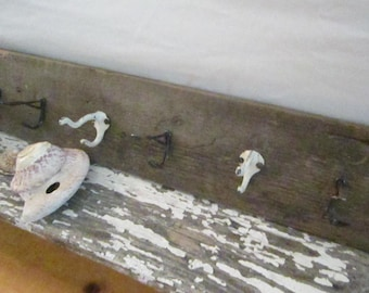 Shabby chic vintage  farmhouse wood  coat rack shabby chic cottage prairie