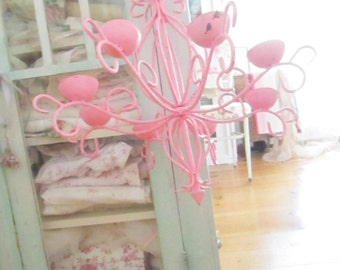 FREE SHIPPING Vintage pink  candelabra shabby chic prairie cottage chic