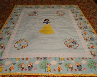 "Snow White Baby Quilt- Applique 38""x 35"""