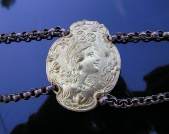 30s Brass Cameo Medallion Chain Link BELT for Repurpose FLAPPER Period Piece