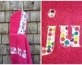 Girls Personalized Hooded Towel Raspbery Pink with polka dots Beach Pool Bath Towel Kids Children Birthday Christmas Valentine's Day Gift