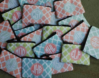 Personalized Change Coin Purse Wallet - Monogram or Monogrammed