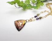Multi Color Pendant Necklace, with Amethyst, Green Garnet, White Pearl and Gold Chain