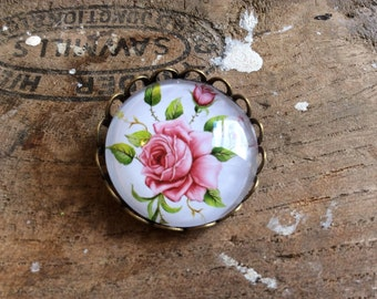 Pink English Rose Brooch english countryside