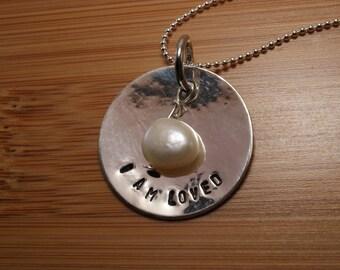 Sterling Silver I am loved necklace - loved necklace - I am loved - love necklace - faith necklace - love gift - handstamped necklace