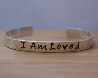 adult sterling silver I am loved bracelet - loved bracelet - love bracelet - I am loved - love gift - handstamped bracelet