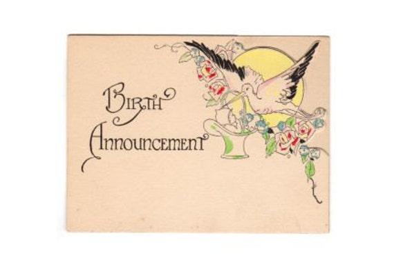 Old Birth Announcement Card Art Deco New Baby 1920s Die Cut – Vintage Birth Announcement