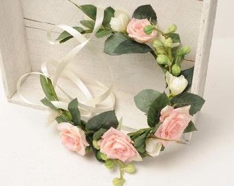 Wedding Head Wreath, Flower Hair Piece, Boho Flower Crown, Woodland Floral Crown, Flower Headband, Wedding Head Piece, Bridal Headpiece Halo