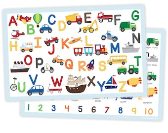 Transportation Alphabet Placemat - Placemat for Kids - Childrens Placemat - Educational Placemat - Laminated