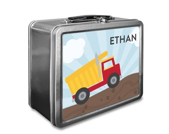 Dump Truck Lunch Box - Personalized Kids Lunch Box - Vintage Metal Lunch Box - Chalkboard Lunchboxes