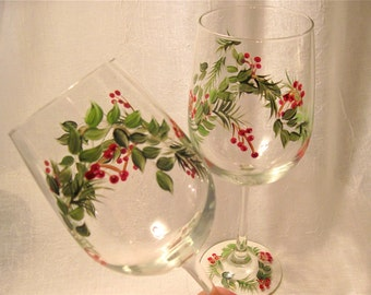 Christmas Holiday hand painted pair of wine glasses